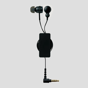 Stereo headphone mike (EHP-CS3540RBK) for smartphone with cord takeup reel