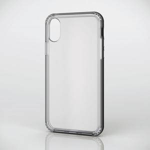 iPhone X用ハイブリッドケース/アルミライクバンパー付(PM-A17XHVBCBK)