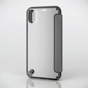 iPhone X用ハイブリッドケース/衝撃吸収/クリアフラップ付(PM-A17XHVCFBK)