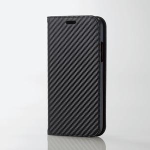 iPhone X用ソフトレザーカバー/カーボン調(PM-A17XPLFCB01)