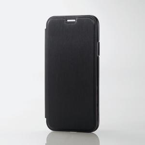 iPhone X用ソフトケース/サイドメッキ/フラップ付(PM-A17XUCMFBK)