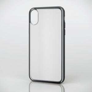 iPhone X用ソフトケース/サイドメッキ(PM-A17XUCTMBK)