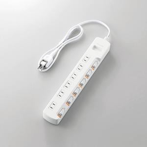 光らない個別スイッチ付き省エネタップ(T-E5B-2610WH)