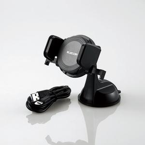 Qi規格対応ワイヤレス充電式車載ホルダー(W-QC01BK)