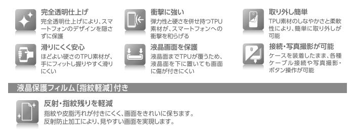 phu kien F-05F, op lung F-05F, phu kien Fujitsu F-05F, Phụ kiện F-05F: Ốp lưng + DMH Fujitsu F-05F TPU siêu sáng Elecom Nhật Bản