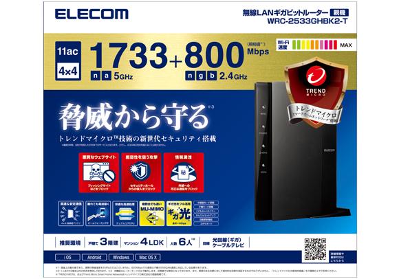 1ac 1733+800Mbps wireless LAN gigabit router WRC-2533GHBK2-T