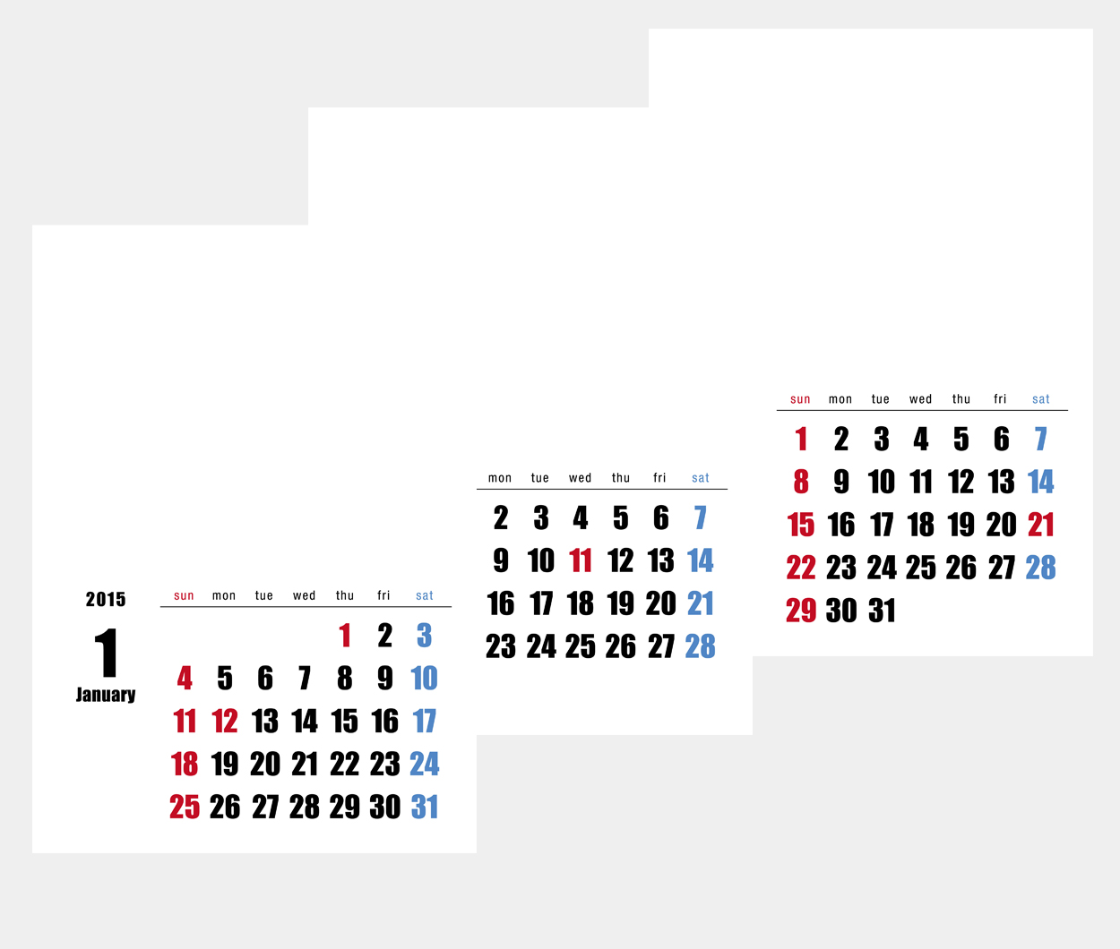 カレンダー カレンダー 2015 プリント : カレンダーキット素材 ...