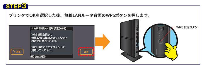 2162e4609b プリンタでOKを選択した後、無線LANルータ背面のWPSボタンを 設定完了!